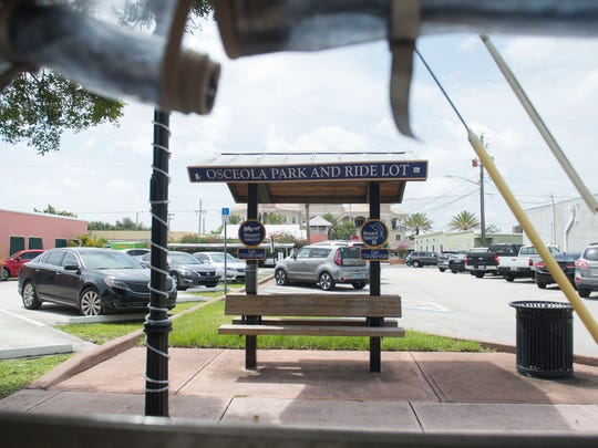 The Osceola Park and Ride Lot is one of more than a dozen tram stops for the Stuart courtesy tram. There are currently five Stuart courtesy trams in operation, with a minimum of 2 in rotation at a time during operating hours.