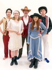 "The cast of Roncalli's ""Annie Get Your Gun."" Front: Hope Gentile (left) and Leah Brey. Back: Dallas Laurin (from left), Ryan Roethle and Justin Gottshall."
