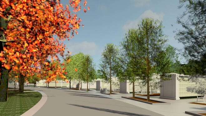 Artists draft rendering of a veteran's national cemetery proposed at Crown Hill Cemetery