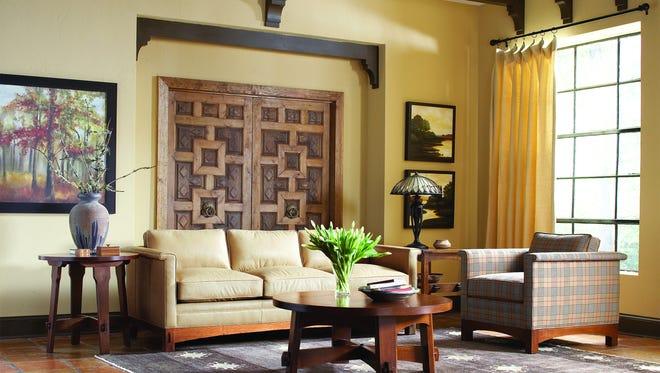 Stickley Furniture's Park Ridge sofa anchors this living space.