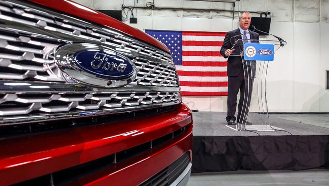 Ford's Joe Hinrichs addresses the crowd at the Kentucky Plant on Friday morning as Ford pulls the wraps off of the redesigned Ford Expedition and Lincoln Navigator.