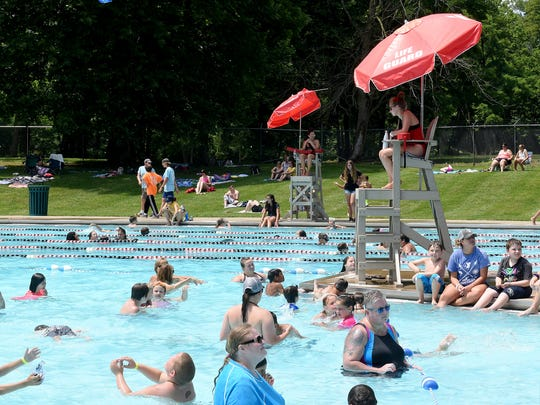 Crowded summer day at the John & Mary Alford Aquatic Center at the YMCA in Newark on Friday, June 29, 2018. The weekend forecast in to the holiday week shows highs in the 90s for Licking County.