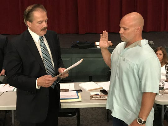 New Milford Board of Education member George Adelung is one of three members stepping down from the seat he has held since 2017, when he sworn in the school district's business administrator Michael Sawicz, who is also leaving in August.