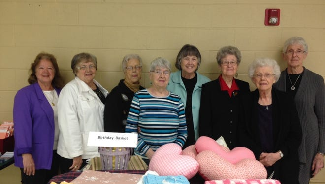 Millersport Eastern Star Chapter #301 donated $120 from their Birthday Basket money (10 cents per year of age from each member) to the Millersport United Methodist Women to buy supplies for their annual mission project of making breast cancer heart pillows, baby quilts that go to the Baby Pantry, premature baby blankets for Fairfield Medical Center, walker bags and lap blankets which are taken to local care centers.  Eastern Star Worthy Matron Marcia Thomas is seen giving to the United Methodist Women members Gail Barber, Ginny Swick, Pat Miller, Betty Aldridge, Carolyn Ricketts, Goldie Weldon, and Pat Toney.