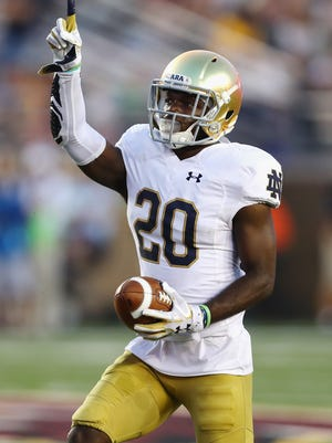 Cornerback Shaun Crawford had two interceptions and a fumble recovery in Notre Dame's 49-20 win over Boston College.