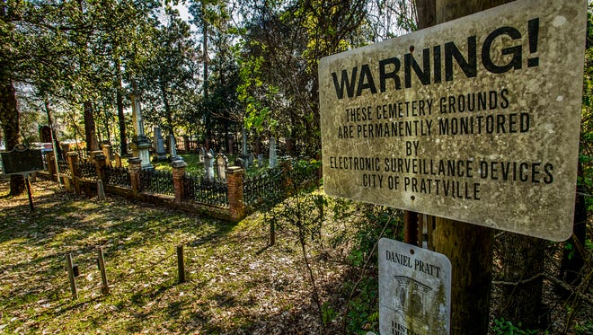 The Daniel Pratt Cemetery is shown in Prattville, Ala. on Wednesday March 21, 2018. The cemetery has electronic alarms, cameras and sensors to prevent further vandalism or damage to the headstones.