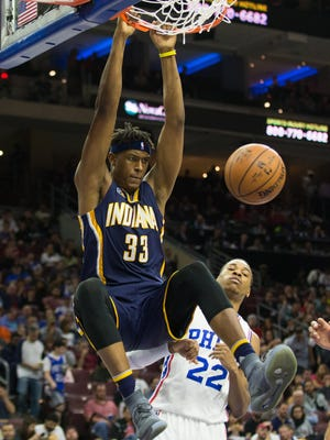 Indiana Pacers center Myles Turner (33) dunks the ball over Philadelphia 76ers forward Richaun Holmes (22) during the second quarter at Wells Fargo Center.