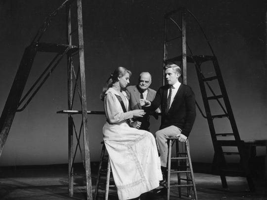 "Playwright Thornton Wilder (back, middle) plays the Stage Manager in a 1959 production of ""Our Town"" with Ellen Weston and Robert Hock at the Williamstown Theatre Festival."