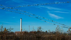 December 2, 2016 - The smokestack is the only remaining