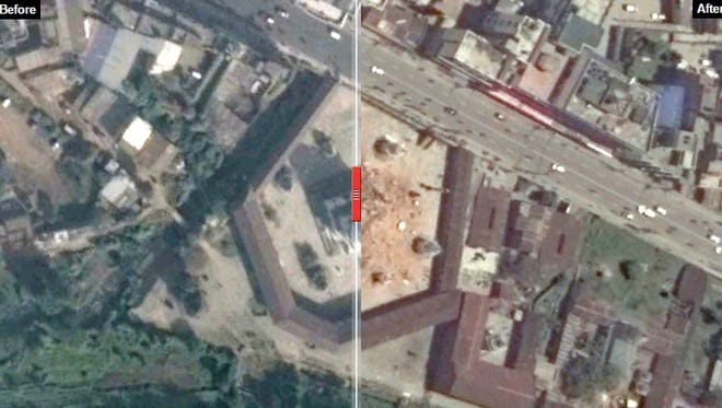 Slider photos compare before and after satellite images.