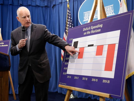 California Gov. Jerry Brown gestures to a chart showing possible future deficit spending as he discusses his revised 2016-17 state budget plan.