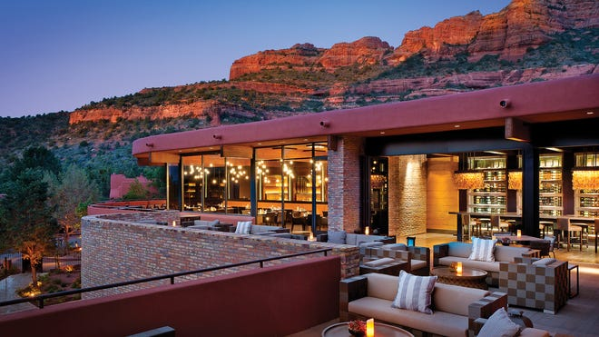Patios at Enchantment Resort in Sedona provide great sunset views.