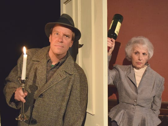 """Cast members in Parkway Playhouse's """"The Mousetrap"""""""