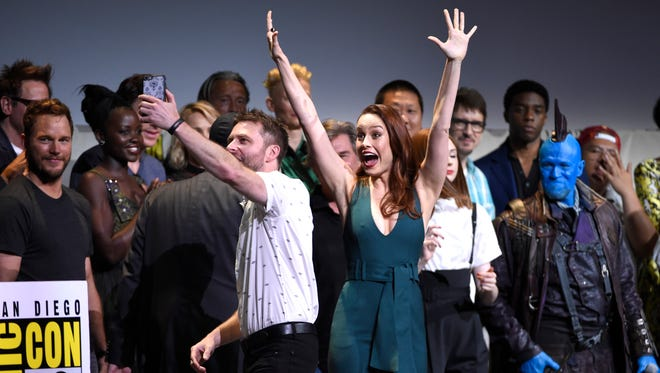 "Brie Larson exults in front of her Marvel Studios family after being announced as the star of ""Captain Marvel."""
