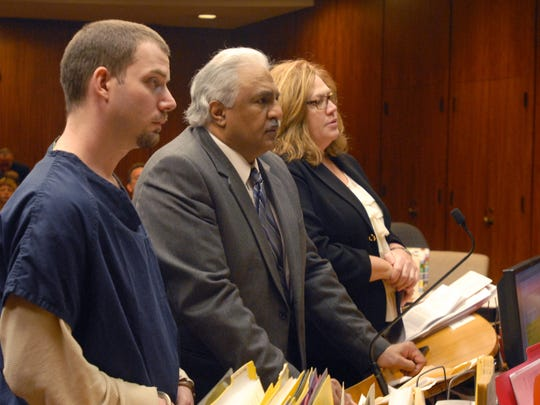 James VanCallis, his lawyer, Azhar Sheikh, and chief trial attorney Therese Tobin speak with Macomb County Circuit Judge Mary Chrzanowski during a hearing Thursday, March 12, 2015. VanCallis was ruled competent to stand trial in the death of 14-year-old April Millsap.