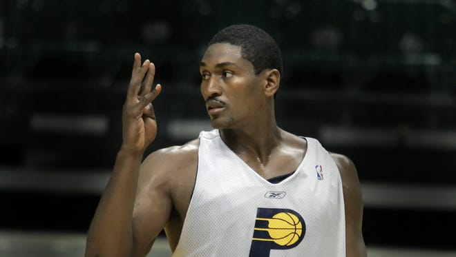 """FILE – Metta World Peace spoke candidly about his time with the Indiana Pacers with ESPN's """"Highly Questionable""""."""
