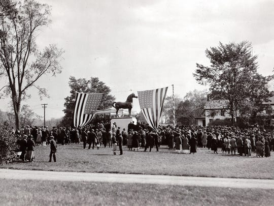 Unveiling of the Figure Statue on the Government Morgan Horse Farm, October 1921.