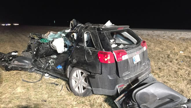 A second vehicle in a fatal three-vehicle crash Friday, Feb. 12, 2016, in Pike County. A woman who was five months pregnant and two others were killed.