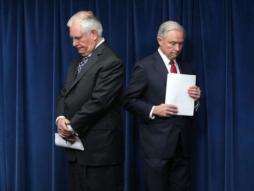 Secretary of State Rex Tillerson and Sessions take