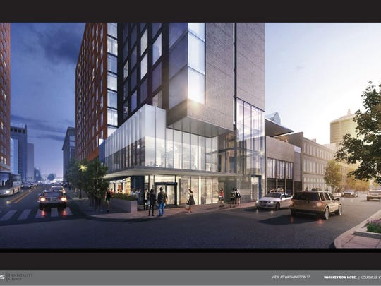 A rendering of a new hotel project on Whiskey Row. This view is from Washington Street.