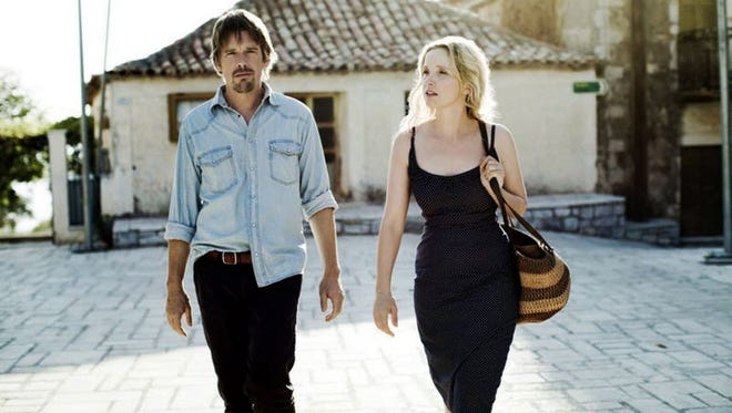 'Before Midnight' finds Jesse (Ethan Hawke) and Celine (Julie Delpy), who met in 1995's 'Before Sunrise,' as a couple now in their 40s.