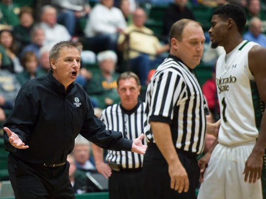 CSU coach Larry Eustachy reacts to a call by officials during a game against Abilene Christian at Moby Arena on Nov. 24, 2015.