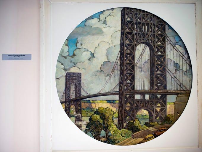 A restored painting of the George Washington Bridge