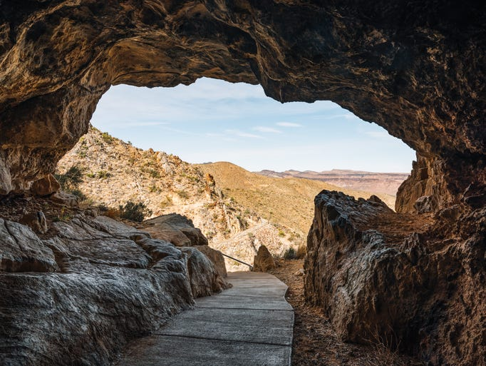 The entrance to Mitchell Caverns in Essex, Calif.