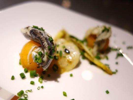 Melon and boquerones with roasted turnip, white asparagus