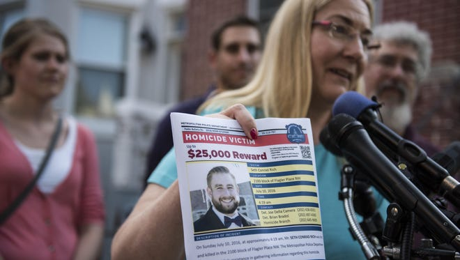 Mary Rich, the mother of slain DNC staffer Seth Rich, gives a press conference in Washington, D.C. on August 1, 2016. Seth Rich was gunned down in D.C. in July 2016 and the Rich's were imploring people for any information they may have about his killer.