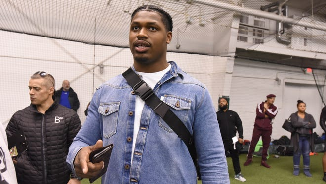 """Current New Orleans Saints rookie and Bosco graduate, Alquadin Muhammed, at the """"Gamechangers"""" Middle School football Camp at the Sports Domain Academy in Clifton on Saturday, March 17, 2018."""