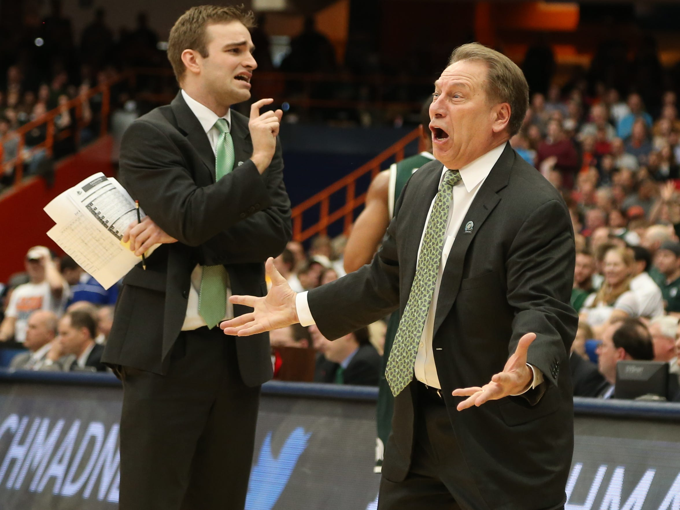 Michigan State head coach Tom Izzo reacts after a call