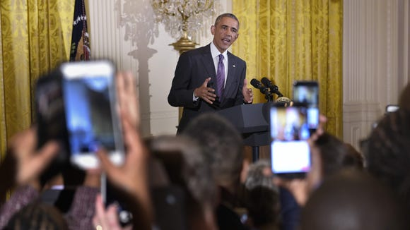 President Obama speaks during a reception to mark LGBT