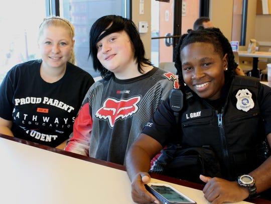 From left: Heather Kucko, Reese Smith and Officer Leona