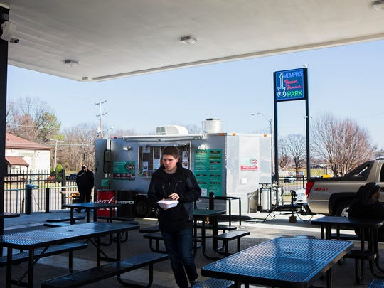 February 9, 2017 - Hungry customers visit the Memphis Food Truck Park on Thursday, to grab a bite to eat for lunch. The park, located at 3803 Winchester, opened two weeks ago.