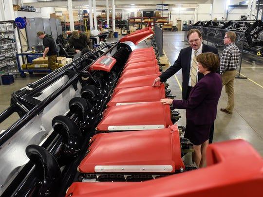 U.S. Sen. Amy Klobuchar tours the Geringhoff plant Thursday, April 5, in St. Cloud.
