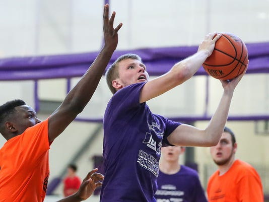 Bedford North Lawrence's Brayton Bailey during 16th annual IBCA/IHSAA Underclass Boys Showcase basketball