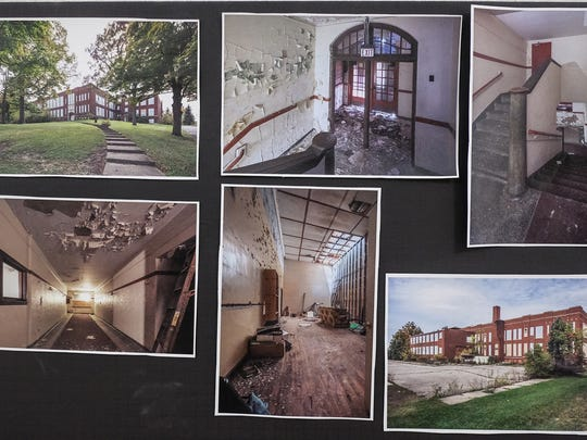 A collection of photos is on display near the office of the newly renovated Portland High School shows the state of the building before restoration. Monday, July 23, 2018.