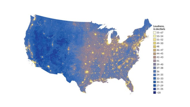 The impact of noise pollution across the country, as mapped by the National Park Service with help from Colorado State researchers. (Map courtesy National Park Service)