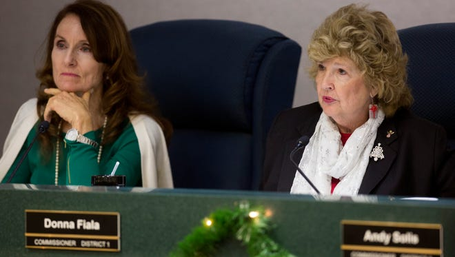 District 1 Commissioner Donna Fiala, right, speaks during a Board of County Commissioners Meeting Tuesday, Dec. 13, 2016 in Naples.