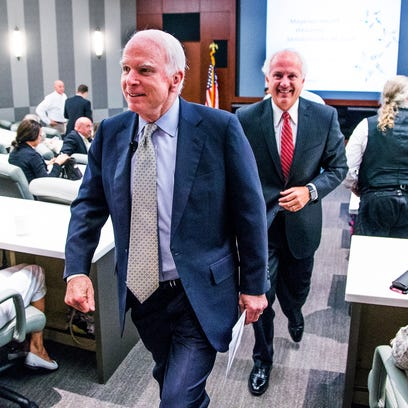 Sen. John McCain, R-Ariz., leaves Thursday after speaking