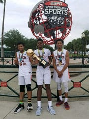 City Rocks Elite Youth Basketball League team members Patrick Thomas, Gerald Drumgoole and Miles Brown after winning the 2017 Division I 16-under AAU National Championship in Orlando. Drumgoole and Brown are again teammates on the club's 17-under team.