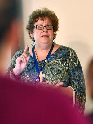 Pam Sylakowski, director of Nashville's Ryan White grant program speaks at the Nashville Regional HIV Planning Council's Data Summit Agenda.Tuesday June 19, 2018, in Nashville, Tenn.