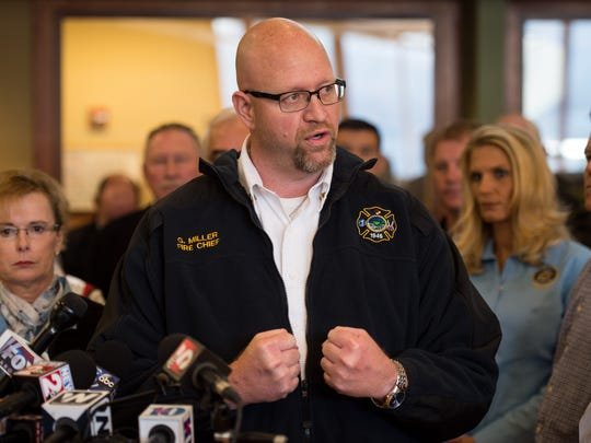 Gatlinburg Fire Department Chief Greg Miller gives an update on the status of the search and rescue efforts during a press conference Dec. 1, 2016, in Gatlinburg.