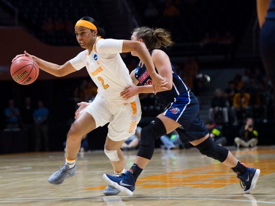Tennessee's Evina Westbrook (2) drives toward the basket