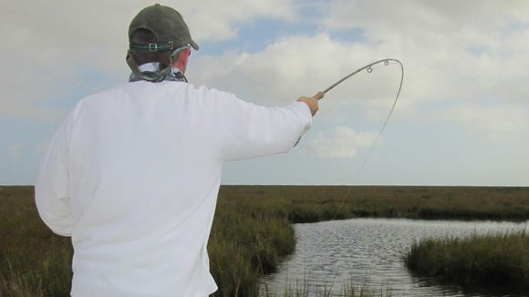 Blind casting for redfish with a fly rod paid off in the marsh.