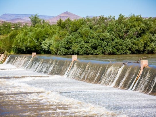 Water flows down the Rio Grande at Leasburg Dam State