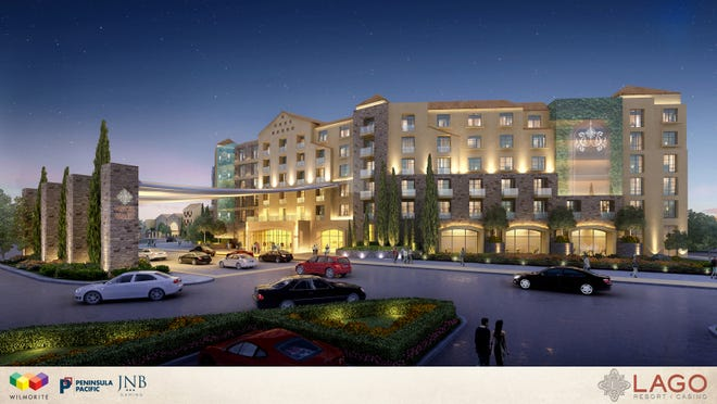 This architectural rendering image provided by Lago Resort and Casino, shows an exterior view of their proposed casino in Tyre, N.Y. The development in the Finger Lakes region was recommended for a casino license on Wednesday, Dec. 17, 2014.