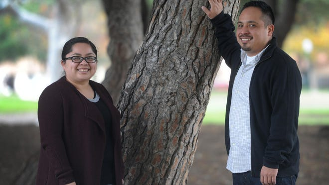 Monica Madrigal Lopez and her brother, Oscar Madrigal, both won election for the first time in November. Madrigal now serves on the Oxnard City Council and Lopez serves on the board of the Oxnard School District. The photos were taken at Lemonwood Park.
