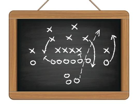 blackboard with football tactic